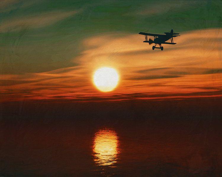 Vliegtuig bij zonsondergang over zee van Jan Keteleer