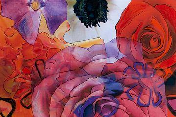 Mixed media met verschillende bloemen in rood en paars. van Therese Brals