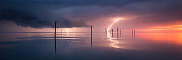 Onweer boven het Markermeer - Panorama van Edwin Mooijaart