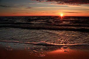 Zonsondergang strand Zweden