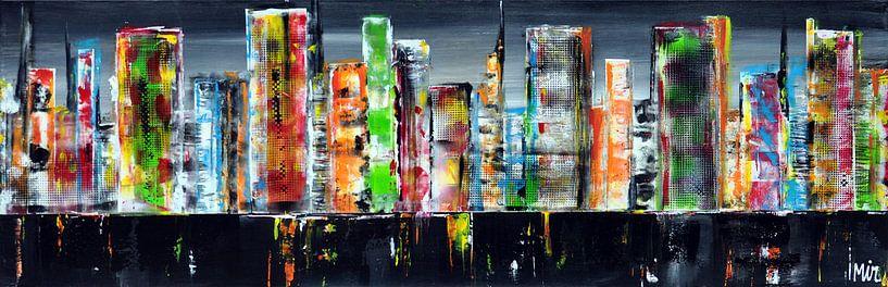 Skyline lightslategray van Kunstenares Mir Mirthe Kolkman van der Klip