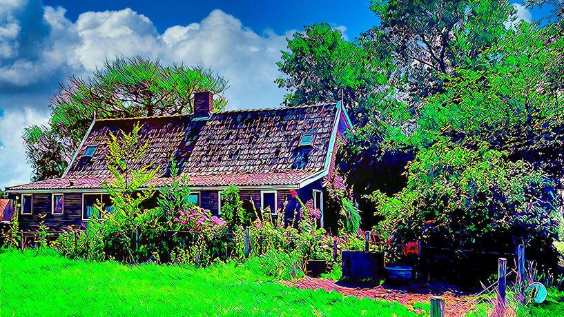 Kleiner Bauernhof mit Garten von Digital Art Nederland