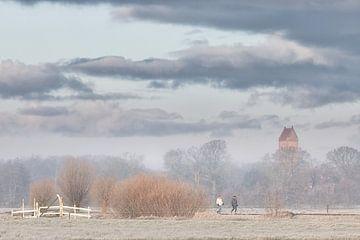 Wandelaars genieten van een koude winter ochtend op Landgoed Nienoord bij Leek met op de achtergrond van Bas Meelker