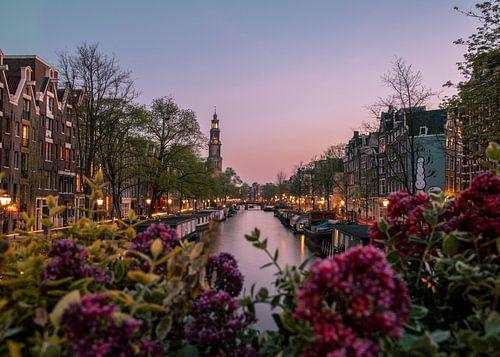zonsondergang over de gracht met de westerkerk in amsterdam