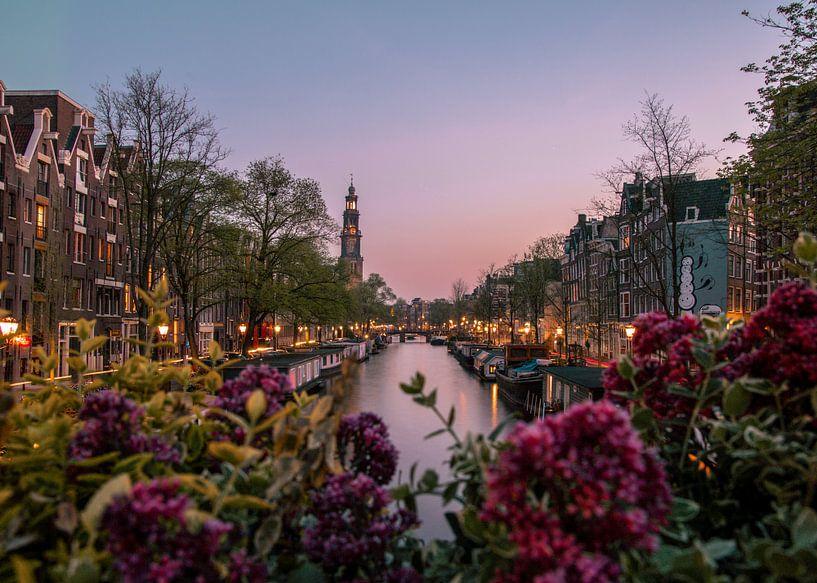 zonsondergang over de gracht met de westerkerk in amsterdam van Romy Oomen
