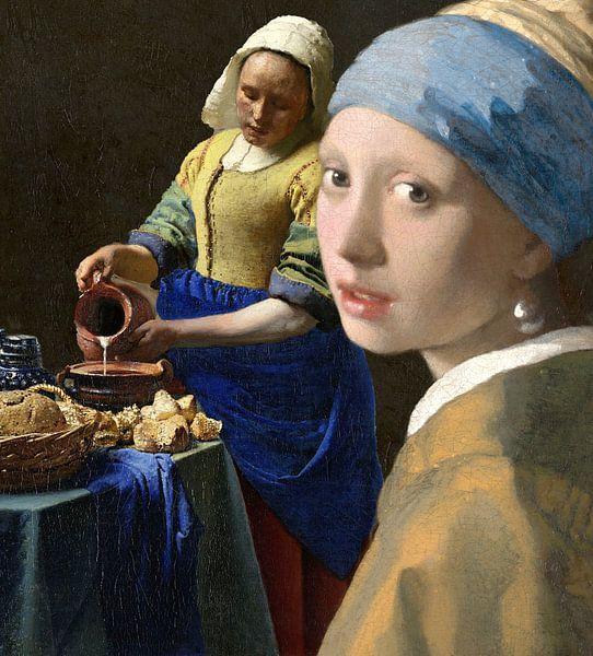 Collage het melkmeisje en het meisje met de parel, Johannes Vermeer van Masters Revisited