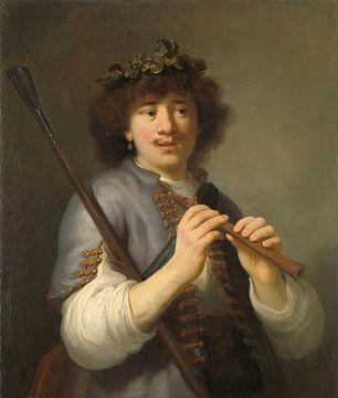 Rembrandt als Hirte mit Stab und Flöte, Govert Flinck  von Het Archief