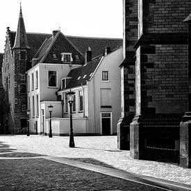 Derrière le Dom à Utrecht en noir et blanc sur De Utrechtse Grachten
