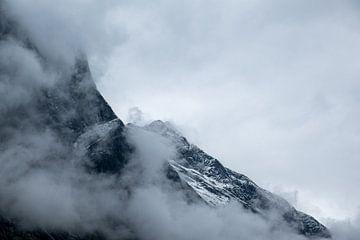 Close-up van besneeuwde bergtoppen van Arjen Roos