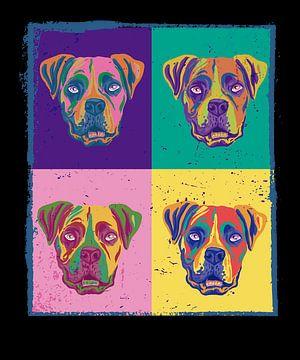 Vier verschieden bunte gemalte Bulldoggen Hunde von LuCreator