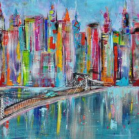 Skyline licht blauw met brug stadsgezicht van Kunstenares Mir Mirthe Kolkman van der Klip