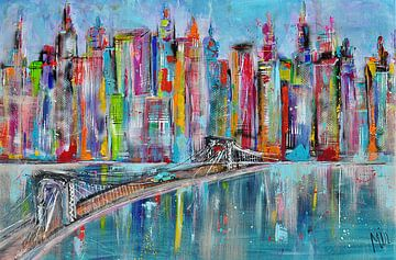 Skyline hellblau mit Brücken-Stadtbild von Kunstenares Mir Mirthe Kolkman van der Klip