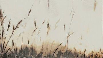 Federn - Schilf - Gräser - Natur - Sonnenaufgang - Sonnenuntergang - Malerei von Schildersatelier van der Ven
