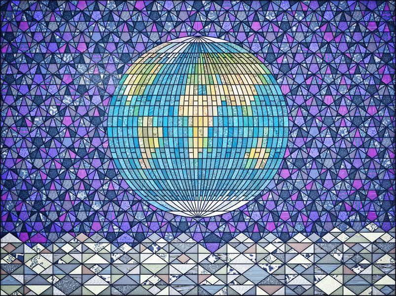 Earthrise glas-in-lood van Frans Blok