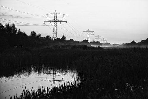 Hollands landschap in zwart wit van