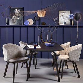 Kundenfoto: Blaue Vase mit Beeren von Karin Bazuin, als gerahmtes poster