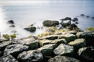 De natte stenen langs de rand van het stilstaande water van Tina Linssen