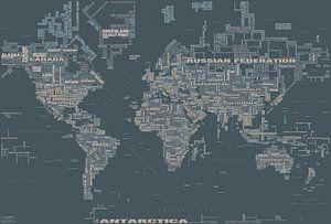 Wereldkaart Typografie, Grijs van MAPOM Geoatlas