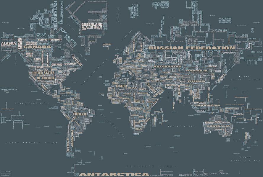 Wereldkaart Typografie, Grijs