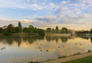 Der Park von Böblingen am Morgen von Andreas Marquardt