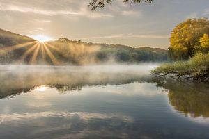 Sonnenaufgang mit Nebel und Sonnenstrahlen im Cranenweyer