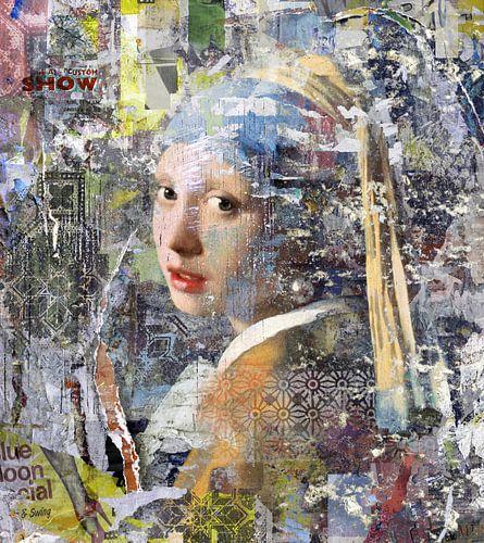Collage-Mädchen mit der Perle