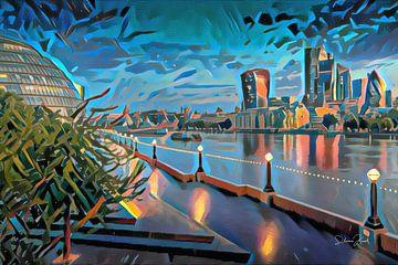 Modern Schilderij London Skyline met Theems