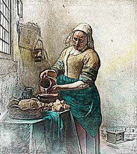 Johannes Vermeer - Die Milchmagd (Bleistiftzeichnung) von Art By Dominic
