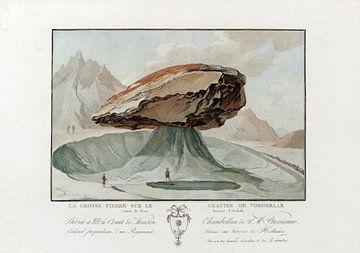 Lauteraargletscher, grosser Steintisch; Lauteraargletscher; Farbkupferstich, 1785 von Atelier Liesjes