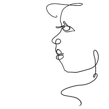 Dessin au trait, traits de stylo noirs sur fond blanc, formant une vue latérale abstraite d'un visag sur Emiel de Lange