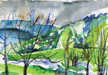 Ontmoeting tussen blauw, grijs en groen van ART Eva Maria
