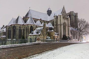 Sint Michielskerk van Gent bij sneeuwval van Marcel Derweduwen