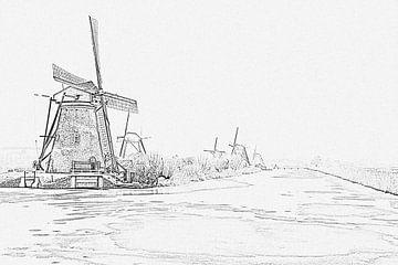 Pentekening van besneeuwde traditionele molens op Kinderdijk in Nederland in de winter von Nisangha Masselink
