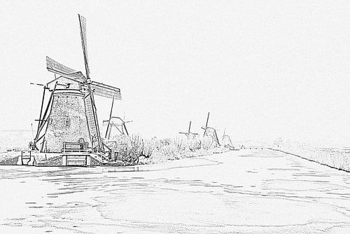 Pentekening van besneeuwde traditionele molens op Kinderdijk in Nederland in de winter van