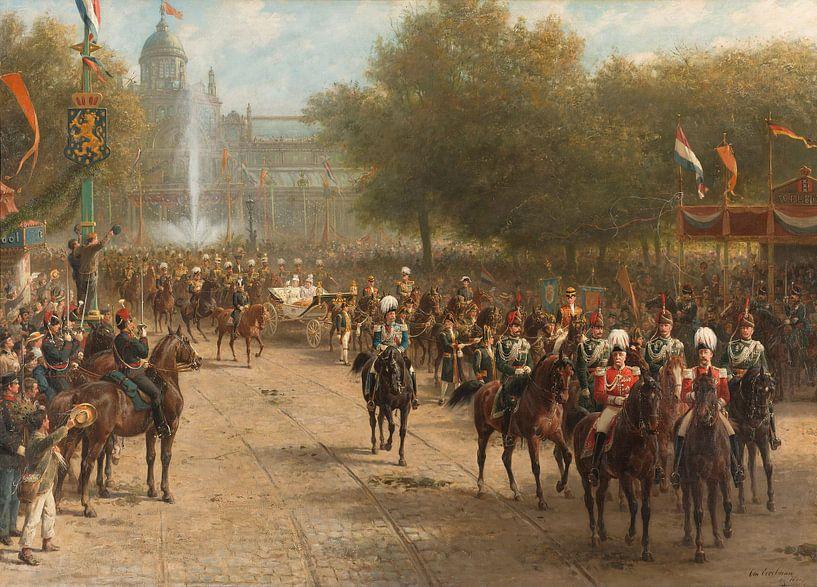 Der Frederiksplein in Amsterdam während der Ankunft von Königin Wilhelmina, Otto Eerelman von Meesterlijcke Meesters