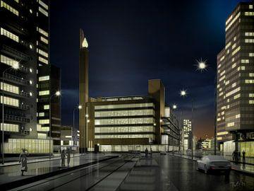 Dudok's Bijenkorf am Abend, Rotterdam von Frans Blok
