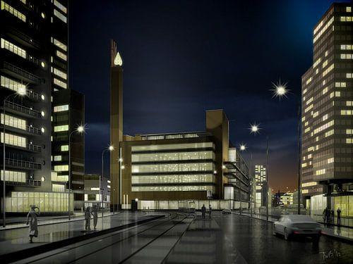 Dudok's Bijenkorf bij avond, Rotterdam