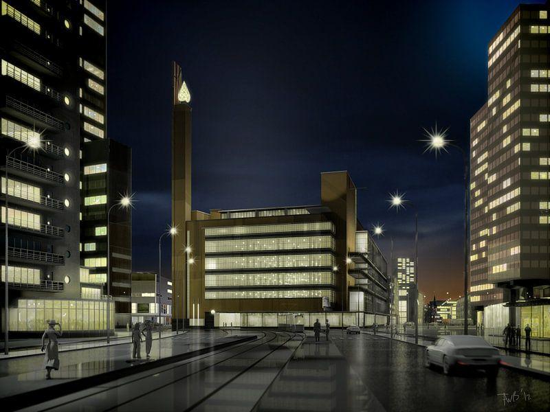Dudok's Bijenkorf bij avond, Rotterdam van Frans Blok