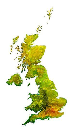 Groot Brittannië   Landkaart in aquarel