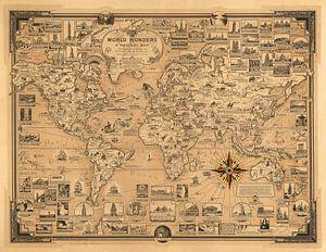 Wereldwonderen, wereldkaart als illustratie