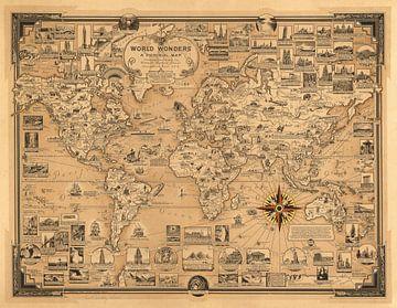 Wereldwonderen, wereldkaart als illustratie van