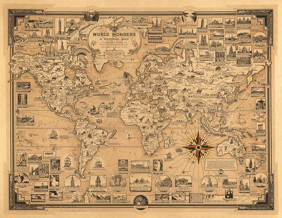 Wereldwonderen, wereldkaart als illustratie van World Maps