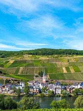 uitzicht op Bremm aan de Moesel, Duitsland van Ruurd Dankloff