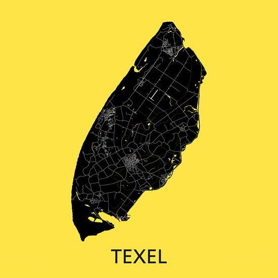 Texel Landkaart | Warmgeel | Wandcirkel