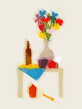 Vase auf Tisch mit Vogel von Joost Hogervorst