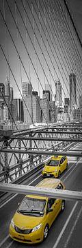 Urbane Impression von der Brooklyn Bridge | Panorama vertikal von Melanie Viola
