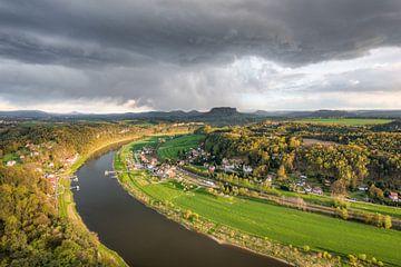 Thunderstorm in Saxon Switzerland van Michael Valjak