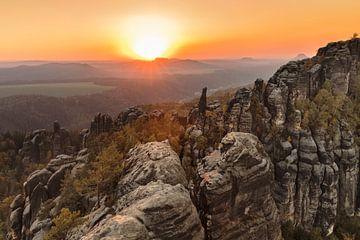 Schrammsteine bei Sonnenuntergang, Elbsandsteingebirge, Sächsische Schweiz von Markus Lange