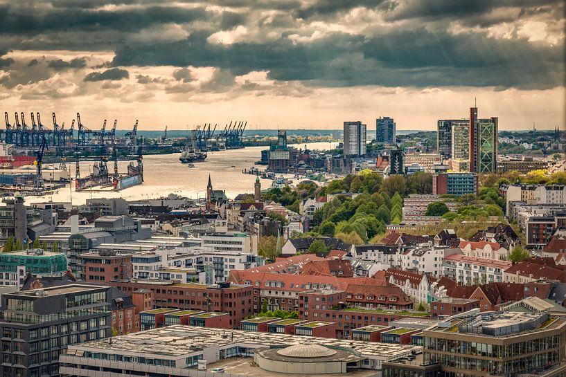 Hamburg van bovenaf van Sabine Wagner