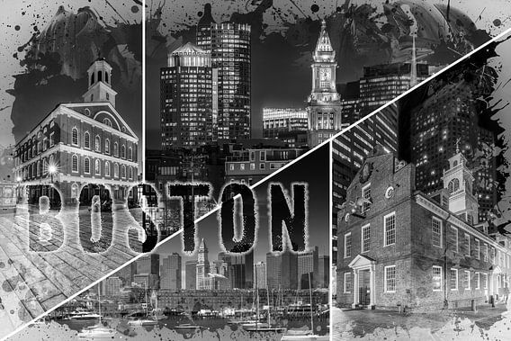 BOSTON Urban Collage No. 1 van Melanie Viola